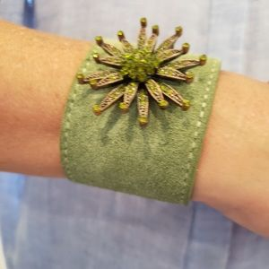 Green Suede Band Bracelet